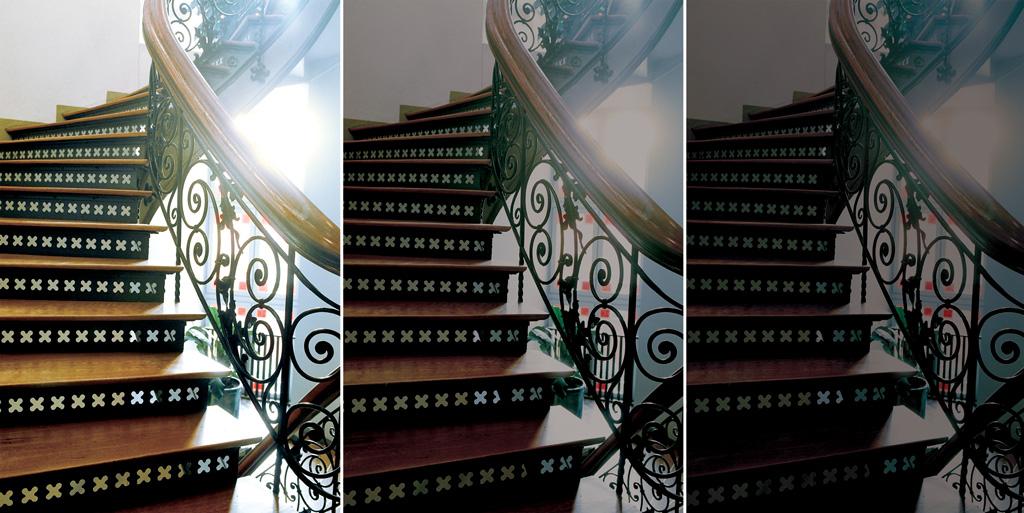 Bildet viser en trappeoppgang og hvordan den fortoner seg i forhold til alder og syn.
