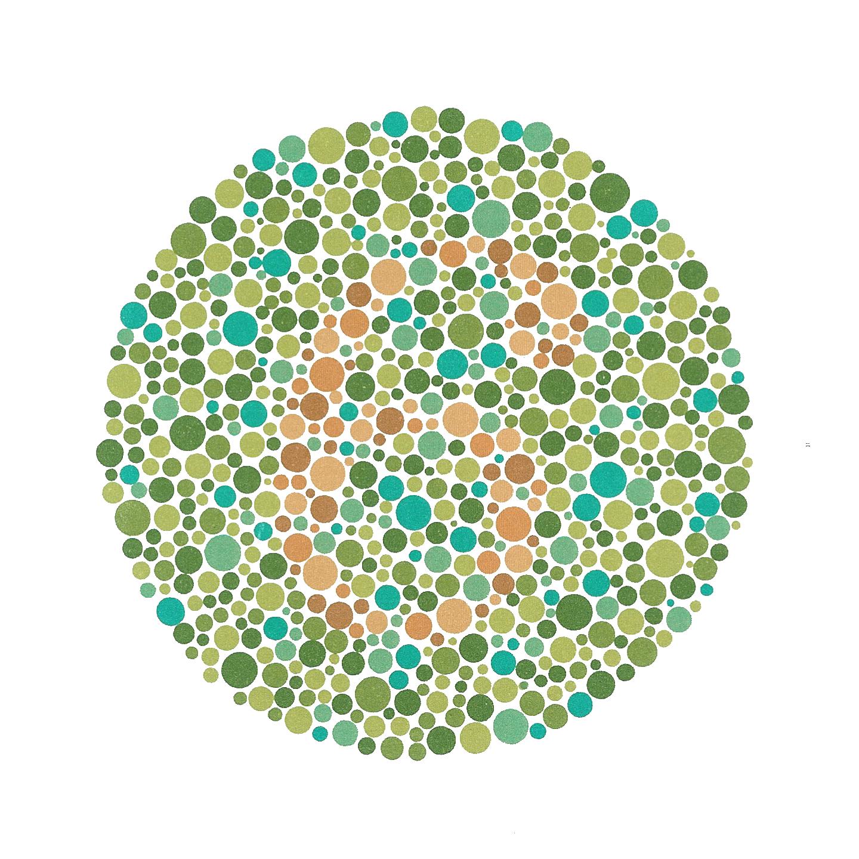 En måte å avdekke fargeblindhet på er benytte et bilde sammensatt av mange fargede sirkler. I midten av bildet står det tallet 6.
