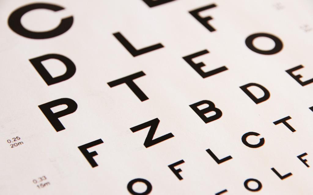 Bilde av en synstavle med bokstaver i forskjellige størrelser.  Bokstavene er på skrå.