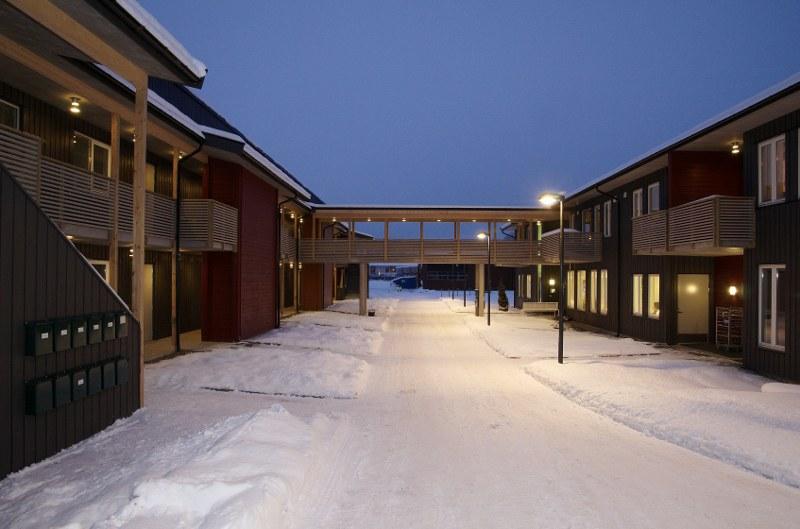 Bilde fra utemiljø med snø - Hønen gård bo- og mestringssenter