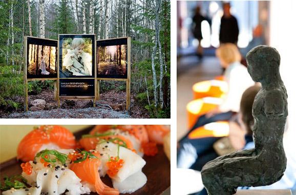 Sammensatt bilde fra Hurdal syn- og mestringssenter. Bildeutstilling i natursti, bronseskulptur i resepsjonsområde og lekker mat på fat.