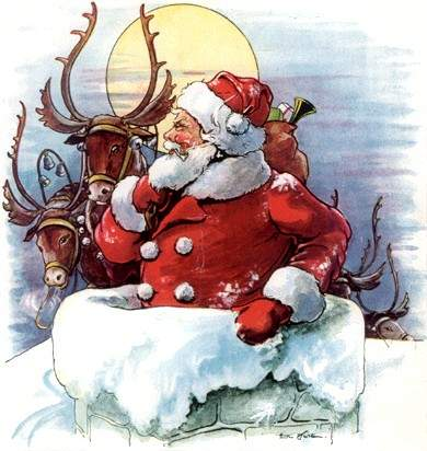 Rødkledd julenisse på tur ned pipa med en sekk, et par reinsdyr i bakgrunnen.