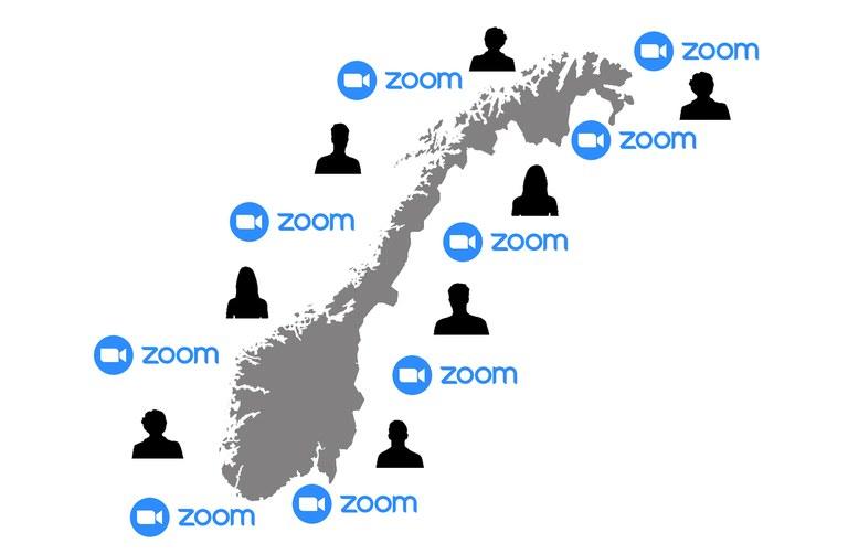 Norgeskart omgitt av siluetter  og zoom logoer