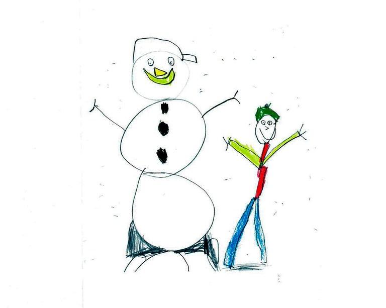 Strektegning - snømann