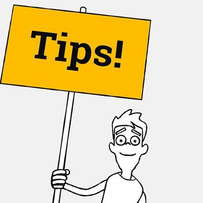 """En illustrasjon av en figur som viser et skilt der det står """"tips""""."""